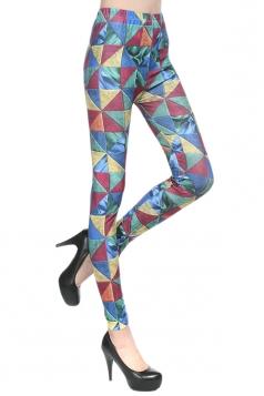 Blue Womens Fashion Triangle Unique Leggings