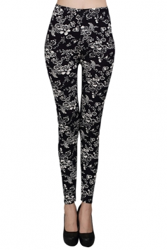 Black Vintage Roses Printed Cute Womens Floral Leggings