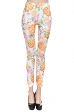 White Vintage Floral Sexy Ladies Fancy Leggings