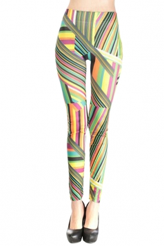Green Colorful Ladies Striped Classic Leggings