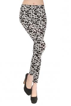 Black Ladies Cool Argyle Printed Classic Leggings