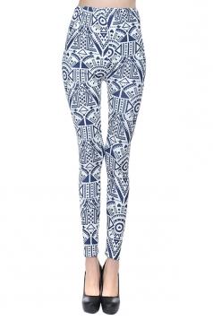 Blue Argyle Fashion Womens Vintage Cute Leggings