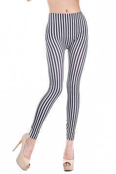 Black Womens Classic Fashion Vertical Striped Leggings