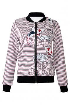 Pink Ladies Crew Neck Long Sleeve Zipper Stripe Printed Jacket