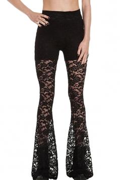 Black Slim Sexy Ladies Lace Flare Fancy Leggings