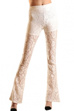 White Sexy Womens Lace Sheer Flare Leggings