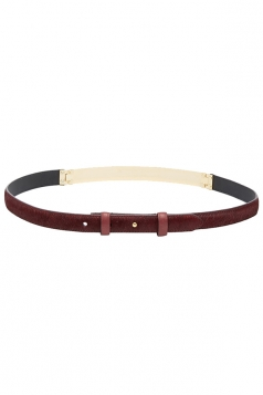 Ruby Womens Patchwork PU Dark Wine Color Belt