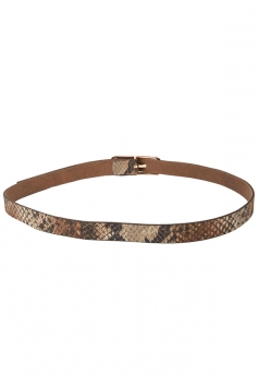 Khaki Ladies PU Snake Skin Printed Metal Hasp Belt
