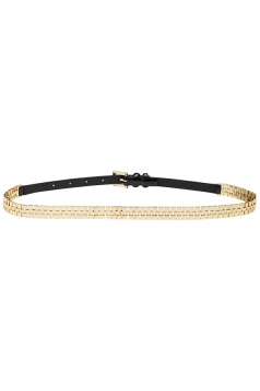 Gold Stylish Ladies PU Black Metal Patchwork Belt