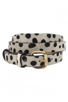 Black and White Cool Ladies Polka Dot Printed PU Belt