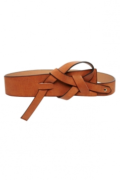 Brown Modern Womens Plain PU Leather Belt