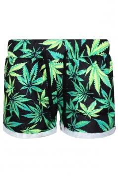 Green Pretty Ladies Marijuana Leaf Printed Mini Shorts