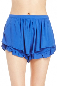 Blue Womens Fashion Ruffle Casual Pleated Skort