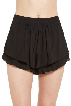 Black Womens Fashion Ruffle Casual Pleated Skort