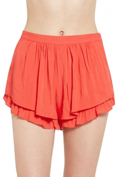 Red Womens Fashion Ruffle Casual Pleated Skort