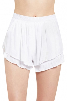 White Womens Fashion Ruffle Casual Pleated Skort