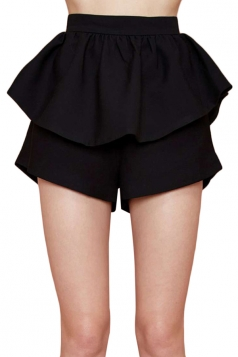 Black Ruffle Ladies Chic Mini Skort