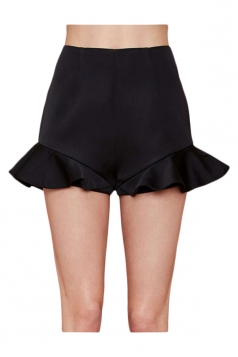 Black Fashion Womens Ruffle High Waist Slim Skort