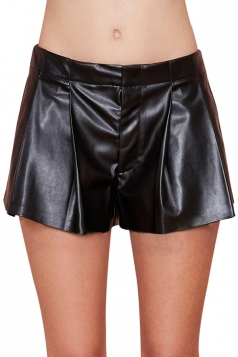 Black Ladies Sexy PU Leather Cute Fashion Shorts