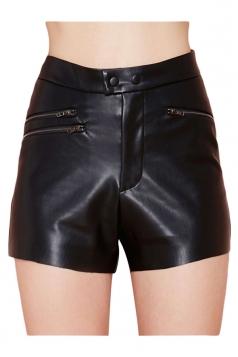 Black Sexy Womens Cool Zipper Slim PU Leather Shorts