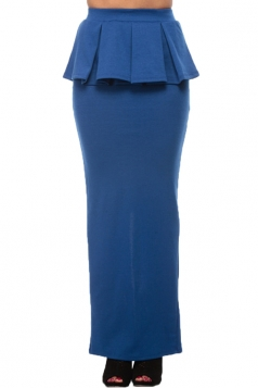 Blue Fashion Ladies Sexy Ruffle Slit Maxi Skirt