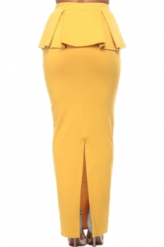 Yellow Fashion Ladies Sexy Ruffle Slit Maxi Skirt