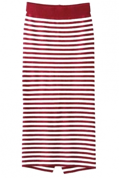 Red Trendy Womens Slit Stripe Printed Knitted Midi Skirt