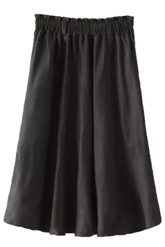 Black Fashion Ladies Pure Suede Pleated Midi Skirt