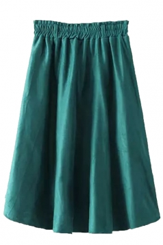 Green Fashion Ladies Pure Suede Pleated Midi Skirt