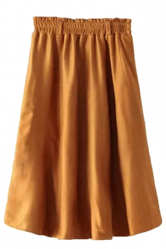 Khaki Fashion Ladies Pure Suede Pleated Midi Skirt