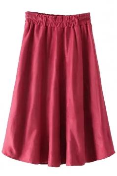Ruby Fashion Ladies Pure Suede Pleated Midi Skirt
