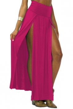 Rose Red Sexy Womens High Waisted Slit Maxi Skirt