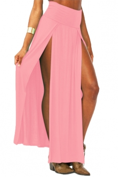 Pink Sexy Womens High Waisted Slit Maxi Skirt