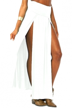 White Sexy Womens High Waisted Slit Maxi Skirt