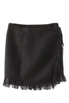 Black Pretty Womens Slimming High Low Fringe Mini Skirt