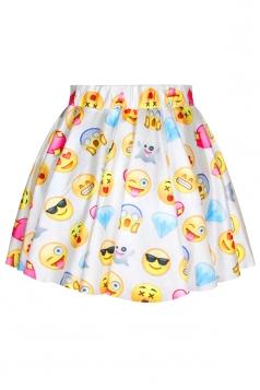 White Womens Cute Emoji Printed Funny Pleated Skirt
