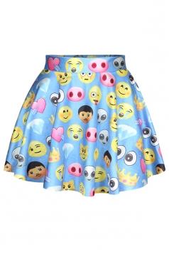 Blue Cute Ladies Funny Emoji Printed Chic Pleated Skirt