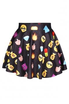 Black Ladies Emoji Printed Fashion Cute Pleated Skirt