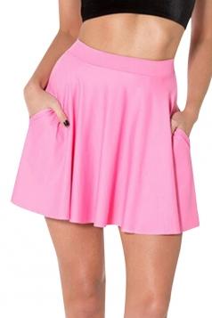 Pink Womens Plain Sexy Fashion Cute Pleated Skirt