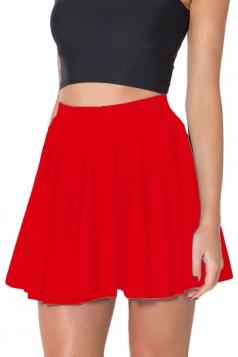 Red Womens Plain Sexy Fashion Cute Pleated Skirt