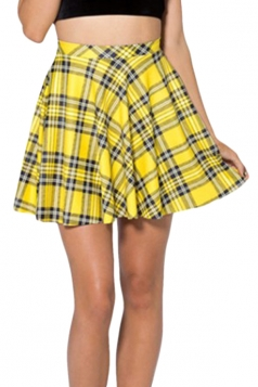 Yellow Vintage Ladies Sexy Plaid Fashion Pleated Skirt