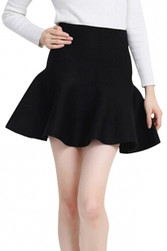 Black Womens Fashion Plain Thick Mermaid Pleated Skirt