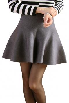Gray Womens Fashion Plain Thick Mermaid Pleated Skirt