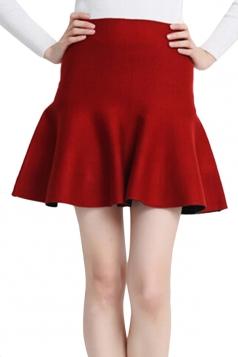 Red Womens Fashion Plain Thick Mermaid Pleated Skirt