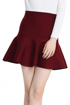 Ruby Womens Fashion Plain Thick Mermaid Pleated Skirt