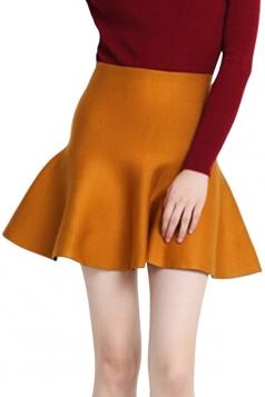 Yellow Womens Fashion Plain Thick Mermaid Pleated Skirt