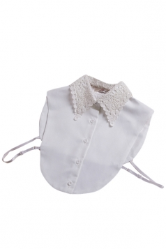 White Chic Ladies Color Block Half Shirts Blouse Lace Fake Collar