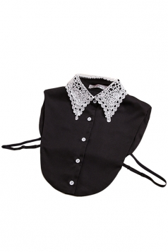 Black Womens Lace Color Block Half Shirts Blouse Fake Collar
