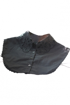 Black Pretty Ladies Lace Embroidered Half Shirts Blouse Fake Collar