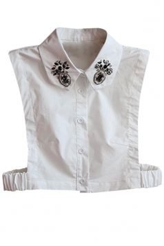 White Ladies Turndown Collar beading Half Shirts Blouse Fake Collar